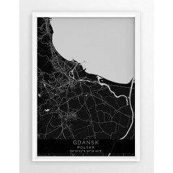 Mapa plakat GDAŃSK - linia BLACK