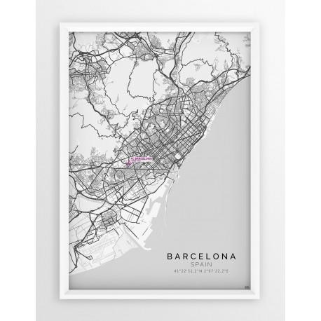 Mapa plakat FC Barcelona - lokalizacja w linii White