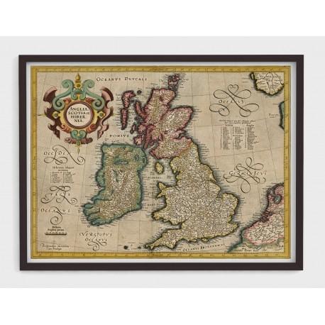 Stara mapa ANGLIA, SZKOCJA, IRLANDIA (1610r) - reprint