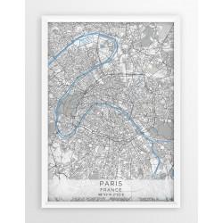 Mapa plakat PARYŻ- linia BLUE/GRAY