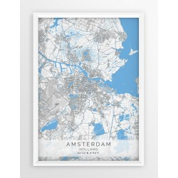 Mapa plakat AMSTERDAM- linia BLUE/GRAY