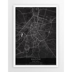 Mapa plakat RADOM - linia BLACK