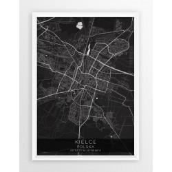 Mapa plakat KIELCE - linia BLACK