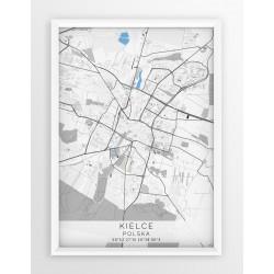 Mapa plakat KIELCE - linia BLUE/GRAY