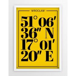 Plakat typograficzny WROCŁAW 1 - linia YELLOW