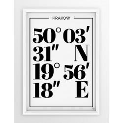 Plakat typograficzny KRAKÓW 1 - linia WHITE