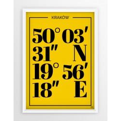 Plakat typograficzny KRAKÓW 1 - linia YELLOW