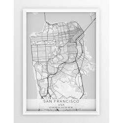 Mapa plakat  SAN FRANCISCO - linia WHITE