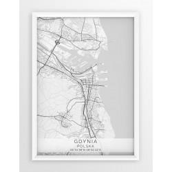 Mapa plakat GDYNIA - linia WHITE