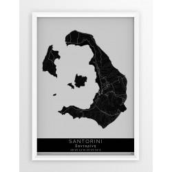 Mapa plakat SANTORINI - linia BLACK