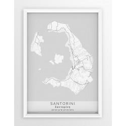 Mapa plakat SANTORINI - linia WHITE
