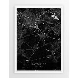 Mapa plakat KATOWICE - linia BLACK