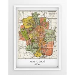 Stara mapa/plan ŁÓDŹ (1936r) - reprint