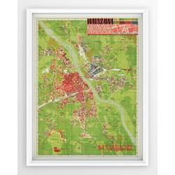 Stara mapa/plan WARSZAWA (1945r) - reprint