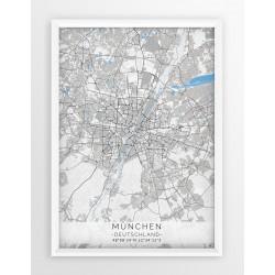 Mapa plakat MONACHIUM - linia BLUE/GRAY