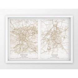 Plakat mapa DWA MIASTA - linia SPECIAL