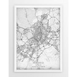 Plakat, mapa - MADRYT - linia WHITE