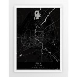 Plakat, mapa PIŁA - linia BLACK