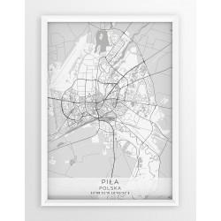 Plakat mapa PIŁA - linia WHITE