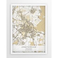 Plakat mapa AMSTERDAM- linia BEIGE