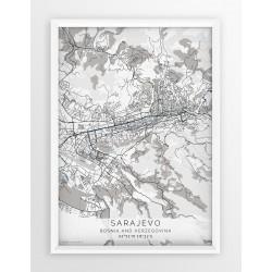 Plakat mapa SARAJEWO - linia BLUE/GRAY