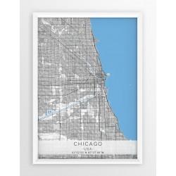 Mapa plakat CHICAGO- linia BLUE/GRAY