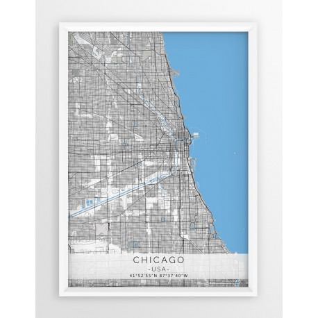 Mapa plakat CHICAGO- linia BLUE/GRAY