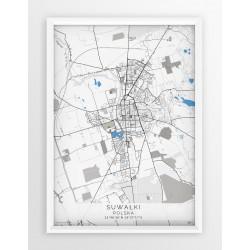 Plakat, mapa SUWAŁKI - linia BLUE/GRAY