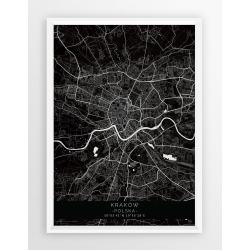 Mapa plakat KRAKÓW - linia BLACK