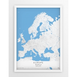Plakat, mapa EUROPA - linia GREY/BLUE