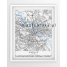 Plakat, mapa WROCŁAW - linia BLUE/GREY-PASSEPARTOUT