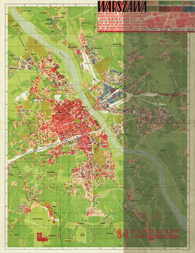 Plakat mapa - zniszczenia Warszawy