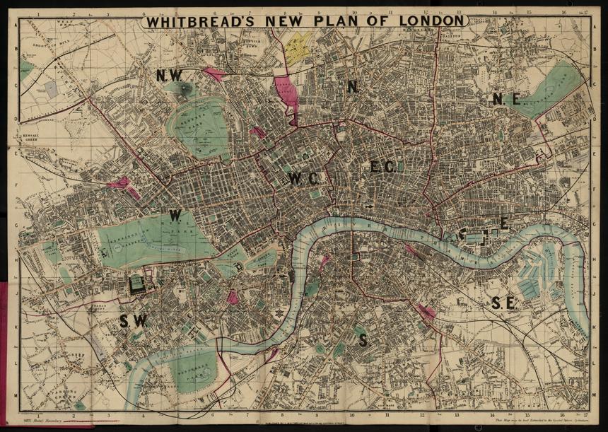 stara mapa Londynu 1862r