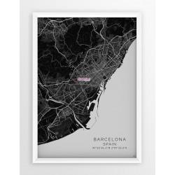 Mapa plakat FC Barcelona - lokalizacja w linii Black