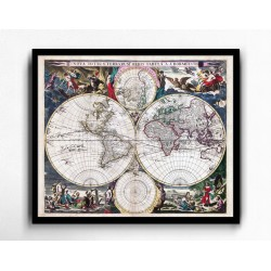 Stara mapa świata (1685r) - reprint