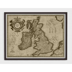 Stara mapa ANGLIA, SZKOCJA, IRLANDIA (1610r) - reprint tinta