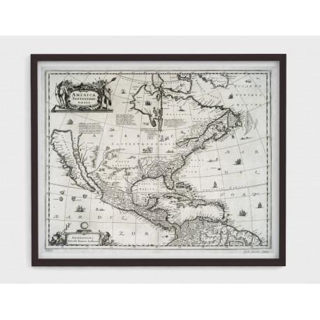 Stara mapa AMERYKA PŁN. (1660r) - reprint