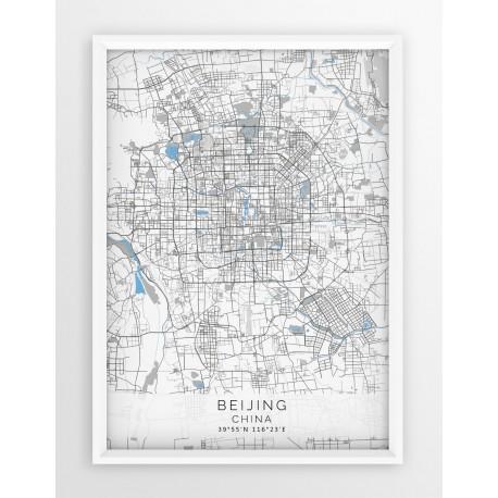 Mapa plakat PEKIN- linia BLUE/GRAY