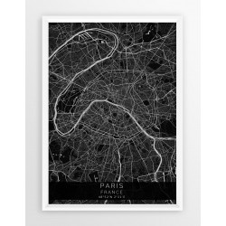 Mapa plakat PARYŻ - linia BLACK