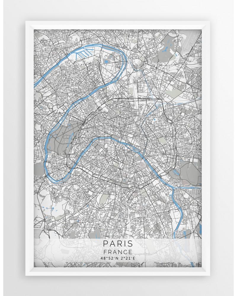 Plakat Mapa Paryż Seria Grayblue
