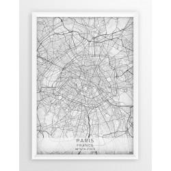 Mapa plakat PARYŻ - linia WHITE