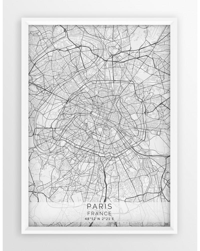 Plakat Mapa Paryż Seria White