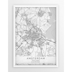 Mapa plakat AMSTERDAM - linia WHITE