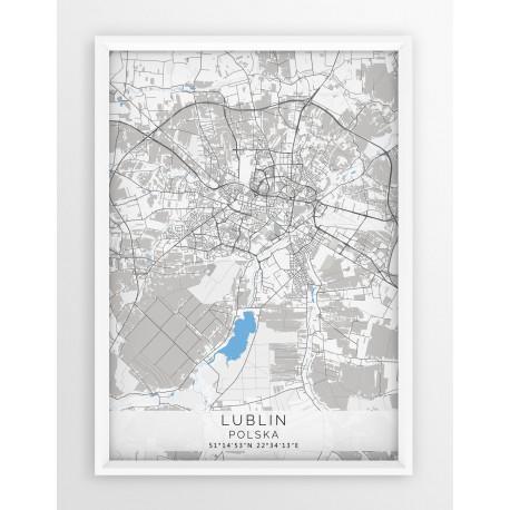 Mapa plakat LUBLIN - linia BLUE/GRAY