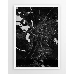 Mapa plakat OLSZTYN - linia BLACK