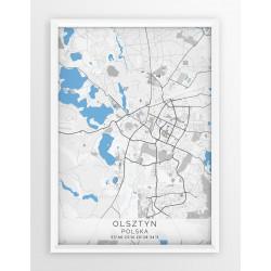 Mapa plakat OLSZTYN - linia BLUE/GRAY