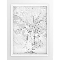 Mapa plakat OLSZTYN - linia WHITE