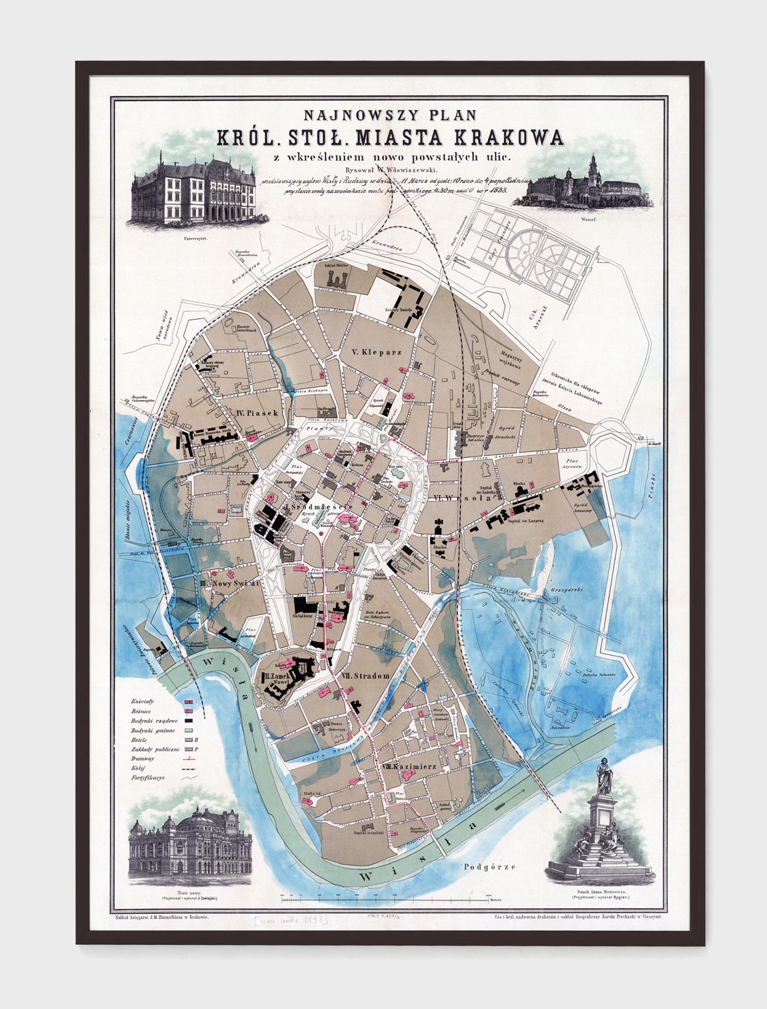 Plakat Mapa Plan Krakowa 1898r