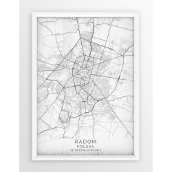 Mapa plakat RADOM - linia WHITE