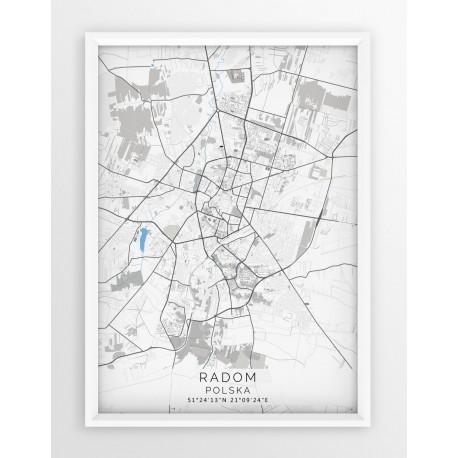 Mapa plakat RADOM - linia BLUE/GRAY